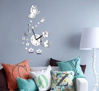 Wholesale living room sets furniture resale online - New Diy mirror wall clock Acrylic d stickers europe decor Living Room gift home furniture butterfly sticker