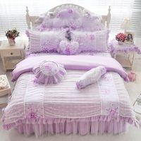 Wholesale Girls Pink Duvet - Pink blue purple cotton lace bedding set twin full queen king size girls children double single bed skirt duvet cover set gift