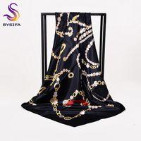 eingewickelte kette großhandel-[BYSIFA] Damen Schwarz Seidenschal Schal Mode Neue Marke Kette Quadratische Schals Wraps 90 * 90 cm Frühling Herbst Muslimischen Kopftuch Cape