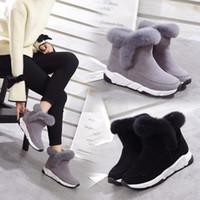 ingrosso stivali neri della piattaforma invernale del cuneo-Masorini Winter Faux Fur Donna Scarpe Donna Snow Boots Ankle Warm Platform Wedge Moda Femme Ladies Boot Black Footwear W-142