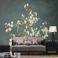 Wholesale chinese black sofa resale online - Custom d wallpaper D Chinese hand painted flowers bird pattern mural TV sofa background wall living room bedroom wallpaper