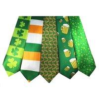 ingrosso modelli di stampa in poliestere-St Patricks Day Theme Cravatta Festa irlandese Stampa digitale Cravatta in fibra di poliestere Verde Shamrock Motivo a righe Cravatte Popolare 3 9xw XB
