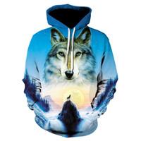 ingrosso grande stampa 3d-EUR 4XL 5XL Plus Size Wolf Felpe con cappuccio Hip Hop Felpa con cappuccio unisex 3d Animal Print Tuta Alisister Pullover con grandi tasche