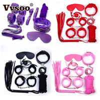 Wholesale restraints handcuffs - 7PCS Set Handcuffs Nipple Clamps Whip Collar Adult Game Toy Leather Fetish Bondage Restraint Wedding Party Favor Decoration