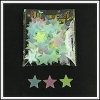 Wholesale light stickers for cars - 3 Colors 100pcs lot 3D Fluorescent Light Star Stereo Wall Sticker Toys For Children Creative Educational Toys Art Kids Toy CCA10132 60set