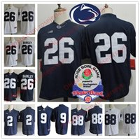 Wholesale College Blue - Penn State Nittany Lions #26 Saquon Barkley 2 Marcus Allen 88 Mike Gesicki #9 No Name Navy Blue White Stitched NCAA College Jerseys