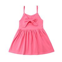 feste gelbe ballettröckchen groihandel-0-3Y Sommer Bowknot Strap Tutu Kleid Solide Rosa Gelb Neugeborenen Baby Mädchen Prinzessin Sommerkleid Strand Outfits