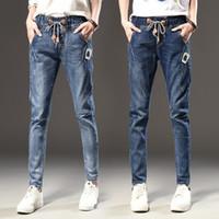 Wholesale loose jeans for women - 2018 Harem Pants for Women Fashion Loose Casual Vintage Distressed Regular Spandex Bleached Denim Trousers Woman Jeans Plus Size