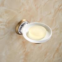 ingrosso porcellana antica-Portasapone in ceramica in ottone anticato in porcellana Rete da bagno in ottone a parete Accessori per bagno 03SD Portasapone