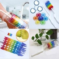 Wholesale roller water - New 360 Degree Rotating Long Handle Silicone Bottle Brush Drinking Cup Water Mug Rainbow Cleaning Brush CCA9993 100pcs