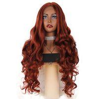 ingrosso parrucca verde profonda-Parrucca rossa sintetica anteriore del merletto parrucche lunghe dell'onda del corpo Colore chiaro frontale naturale dei capelli del merletto chiaro di colore verde per le donne