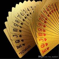 spieleprämien großhandel-Ursprüngliche wasserdichte Luxusgoldfolie überzogene Poker-erstklassige Mattplastikbrettspiel-Spielkarten für Geschenk-Sammlung