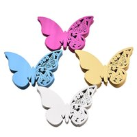 ingrosso scatola di carta della farfalla-carta 50pcs / lot Farfalla Wine Glass Placecard Laser Cut Nome carta per coppe Decorazioni della festa nuziale