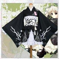 cosplay original venda por atacado-Estilo japonês Mulheres Kimono Elegante Estampa de Flor de Palco Desempenho Traje Tradição Original Do Vintage Yukata Vestido Robe Cosplay