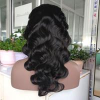 perruques vietnamiennes achat en gros de-16 Pouces Naturel Couleur Moyenne Densité Vietnamienne Vierge de Cheveux Humains Pleine Dentelle Perruque Corps Vague Dentelle Avant de Perruque Cheveux Humains pour Les Femmes Noires
