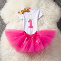 tutu rosa esponjoso al por mayor-Baby First Birthday Outfits Tutu Tul 1 año Fiesta Comunión Niño Bautizo Vestido Fluffy Pink Birthday Vestidos de bebé 1 año Ropa Traje