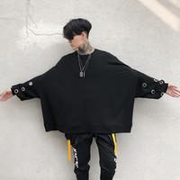abrigo gótico de moda al por mayor-Hombres High Street Fashion Punk Gothic con capucha abrigo remache manga murciélago suelta sudadera con capucha sudadera de gran tamaño