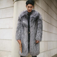 Wholesale fox fur coats men - Wholesale- Clobee Men faux fur Coats 2017 Winter Outwear Fake Fox Fur Long Jackets Oversized 3XL 4XL 5XL Men's Thicken Warm Overcoats M749