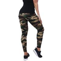mavi yeşil tozluklar toptan satış-Yeni Moda 2018 Kamuflaj Tayt Baskı Esneklik Armyu Yeşil Legging Kadınlar Için Mavi Gri Spor Pantolon Leggins Casual Legging
