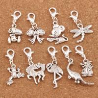 dangling colares venda por atacado-100 pçs / lote Tibetano Prata Mix Cavalo Lagosta Garra Fecho Alloy Charme Beads Dangle Solta Pérolas Fit Colar CM1