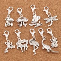 Wholesale Clipping Horses - 90pcs lot Crane Dragon Dinosaur Horse Dragonfly Frog Clasp European Lobster Trigger Clip On Charm Beads Antique silver CM1