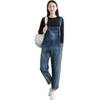 Wholesale women denim long overalls - Autumn Spring Loose Jeans pant for women student style Casual High waist women work pant Size S-2XL Blue color