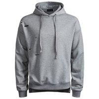 hoodies do estilo britânico venda por atacado-2018 dos homens de moda de nova-buraco quebrado hoodies homens casuais estilo britânico cor pura casaco com capuz s-2xl para o outono