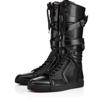 new nail items 2018 - New Items!Mens black genuine leather sports boots cool man flat red bottom Sporty Dude Flat zipper with nails,buckle knee boots for man