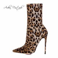 Wholesale stiletto shoes women leopard - 2018 spring autumn Leopard slip on fashion ankle boots stilettos big size 40-48 high heels 12cm pointed toe shoes