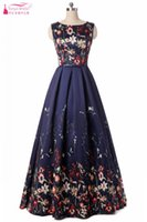 Wholesale modern clothing patterns - Pattern Floral Print Prom Dresses 2018 Maxi Dress Plus Size Clothing Navy A Line Sundress Evening Long Formal Women Gowns
