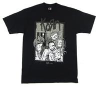 imagens roupa venda por atacado-KORN Costurado Boneca Banda Imagem Questões Tour 2000 Camiseta Preta Novo Oficial NOS Streetwear Engraçado Imprimir Roupas Hip-Tope Mans T-Shirt