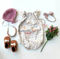 Wholesale clothing wholesalers america - Baby Girls Deer Cap Sleeves Rompers with Snap Summer Children Boutique Clothing Euro America 0-3T Infant Toddlers Girls Rompers