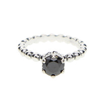 Wholesale finger rings fashion for sale - Fashion Sterling Silver crown Rings Pave black CZ finger Ring with logo for Women pandora Wedding Jewelry