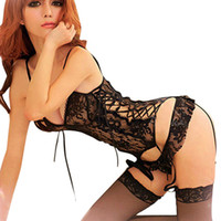 lingerie de senhora venda por atacado-Lingerie Sexy Mulheres Senhoras Sexy Lace Underwear Pijamas Pijamas O Top + G-string Perspectiva Vestido Nighty