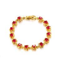 ingrosso set di oro puro 18k-(291B) Braccialetti cubici rossi / verdi di zircone per le donne che regolano l'oro puro 24k placcato l'alta qualità placcata