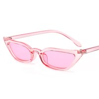 Wholesale trendy eye glasses frames resale online - 2018 Designer Retro Small pink Cat Eye Sunglasses Trendy thin frame Clear Red yellow Sun Glass Lens Black UV400 sunglasses