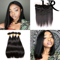 Wholesale Brazilian Virgin Hair Straight x4 Lace Frontal Closure and Bundles A Mink Human Hair Weaves with Closure Natural Color Hair Wefts
