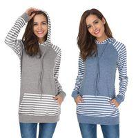 Wholesale Stripe Maternity - women striped hooded tops women long sleeved pockets Patchwork Stripe Sweatshirts Causal Fashion Maternity Tops Hoodies Wear