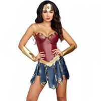 wonder woman costume toptan satış-Seksi Wonder Woman Cosplay Kostümleri Yetişkin Justice League Süper Kahraman Kostüm Noel Cadılar Bayramı Seksi Kadınlar Fantezi Elbise Diana Cosplay S920