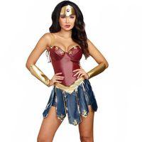 wonder woman costume оптовых-Sexy Wonder Woman Косплей Костюмы Лига Справедливости Для Взрослых Костюм Супергероя Рождество Хэллоуин Сексуальные Женщины Необычные Платья Диана Косплей S920