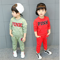 Wholesale best brand sweaters - Love Pink children Tracksuit Sweat Suit Outfit Kid Two Piece Sportswear Boy Girls Sweater+Track Pants Casual Sports Suit Game Clothing best
