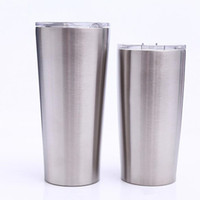 Wholesale double walled tumbler stainless - 24oz 20 oz tumblers Coffee Mug 304 Stainless Steel Double Wall Vacuum Insulated Mugs Beer Cups Drinkware Vacuum Mugs with clear lids