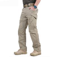 swat army pants black al por mayor-Pantalones de carga Hombre Pantalones de trabajo tácticos negros Pantalones de combate para hombre Ejército SWAT Fuerzas especiales Joggers Sweatpant