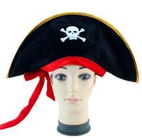 piraten zubehör kostüm groihandel-Neue Ankunft Halloween Zubehör Schädel Hut Karibik Pirate Hut Piraterie Hüte Corsair Cap Party Requisiten Cosplay Kostüm Theater Spielzeug