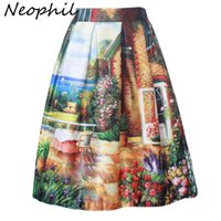 Wholesale swing painting for sale - Group buy Neophil Summer Women Garden Floral Painting Printed Ball Gown Pleated High Waist Flare Swing Skirts Female Faldas S07049