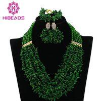 conjunto nigeriano de boda de coral al por mayor-El último conjunto de collar de perlas de coral nigeriano para la boda verde africano traje joyería conjunto regalo nupcial joyería envío gratis CJ527