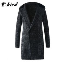 Wholesale Long Sections Trench Coats - T-Bird Trench Caot Men 2017 Coat Male Knit Cardigan Jacket Men Double-Breasted Long Section Brand Outwear Cotton Jackets k6