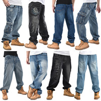 Wholesale Yellow Loose Beads - New Multiple Styles Mens Large Size Baggy Hip-hop Jean Pants Loose Folds Beads Whiskers Washed Skateboarding Long Trousers Casual for Men