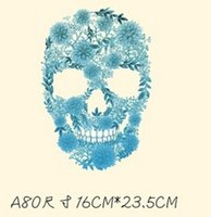 Wholesale skull hoodies wholesale online - T shirts And Hoodies DIY Stickers Skull Printing Men Women Couples Patches Iron on Transfers Patches For Clothes
