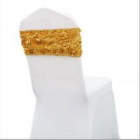 ingrosso fasce oro satinato oro sedia-Rose Flower Satin Rosette Lycra Spandex Coprisedile per sedie da festa per la decorazione di sedie da sposa Regalo 9 colori 16 * 36cm